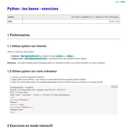 Python : les bases - exercices