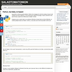 Python, les listes, le hasard « SaladTomatOnion