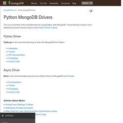 Python MongoDB Drivers