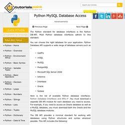 Python - MySQL Database Access
