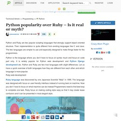 Python popularity over Ruby – Is it real or myth?