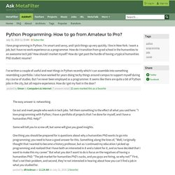 Python Programming: How to go from Amateur to Pro? - jobs career