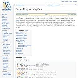 Python Programming/Sets