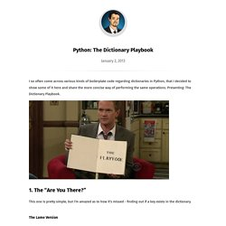 Python: The Dictionary Playbook