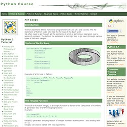 Python Tutorial: For Loops