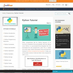 Python Tutorial, Python Online Tutorial