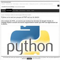 Python a le vent en poupe et PHP est sur le déclin