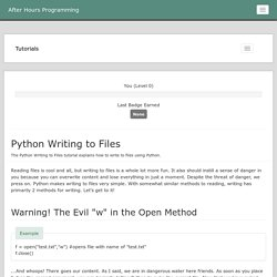 Python Writing to Files Tutorial