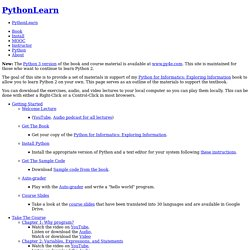 PythonLearn - Self-paced learning Python