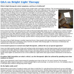 Q&A on Bright Light Therapy