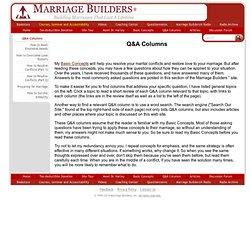 Marriage Builders Articles - Q&A Columns