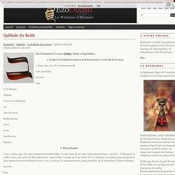 Qabbale du Beith « La Kabbale Des Lettres « Kabbale