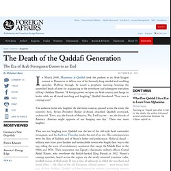 The Death of the Qaddafi Generation