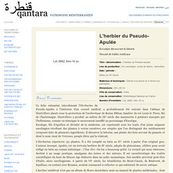 Qantara - L'herbier du Pseudo-Apulée