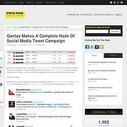 Qantas Makes A Complete Hash Of Social Media Tweet Campaign | Steve Fogg: Clear & Simple