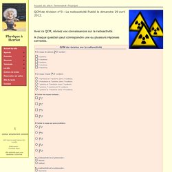 QCM de révision n°3 : La radioactivité
