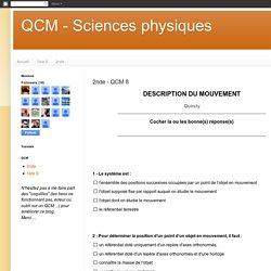QCM - Sciences physiques: 2nde - QCM 8