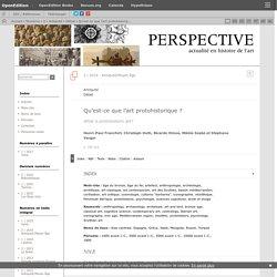 Qu'est-ce que l'art protohistorique?