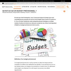 Qu'est-ce qu'un budget prévisionnel