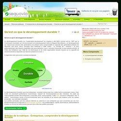 Qu'est ce que le developpement durable ?