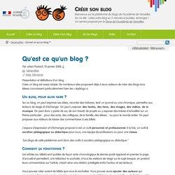 Qu'est ce qu'un blog ? - Créer son blog