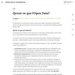 Qu'est-ce que l'Open Data?