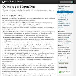 Qu'est-ce que l'Open Data? — Open Data Handbook