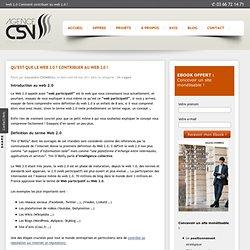 Qu'est que le Web 2.0 ? Contribuer au Web 2.0 !