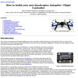 How to build your own Quadcopter AutoPilot / Flight Controller