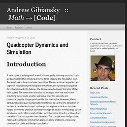 Quadcopter Dynamics and Simulation - Andrew Gibiansky