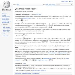 Quadratic residue code
