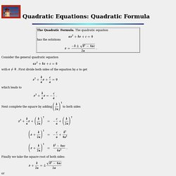 Quadratic Equations: Quadratic Formula