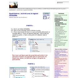 Quadrilatères : Activité avec le logiciel GEOGEBRA