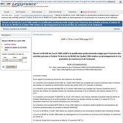 Décret no 98-246 du 2 avril 1998 relatif à la qualification professionnelle exigée pour l'exercice des activités prévues à l'article 16 de la loi no 96-603 du 5 juillet 1996 relative au développement et à la promotion du commerce et de l'artisanat