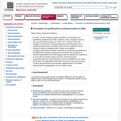 Publications et services - Formation et qualification professionnelle en 2003