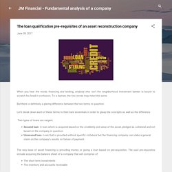 The loan qualification pre-requisites of an asset reconstruction company