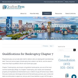 Know the Qualifications for Bankruptcy Chapter 7 with Grafton Firm