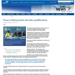 Prasa confirms probe into fake qualifications:Thursday 3 September 2015