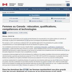 Le Quotidien—Femmes au Canada : éducation, qualifications, compétences et technologies