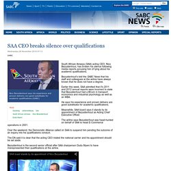 SAA CEO breaks silence over qualifications :Wednesday 26 November 2014
