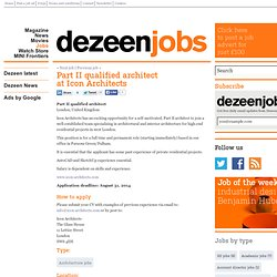 Part II qualified architect at Icon Architects - Dezeen Jobs