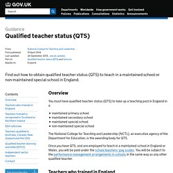 Qualified teacher status (QTS) - Detailed guidance