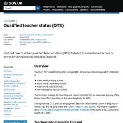 Qualified teacher status (QTS) - Detailed guidance