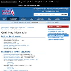 Qualifying Information - Division of Elections - Florida Department of State
