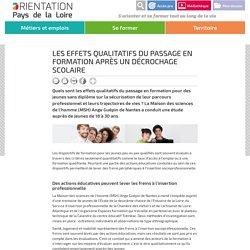 Les effets qualitatifs du passage en formation après un décrochage scolaire