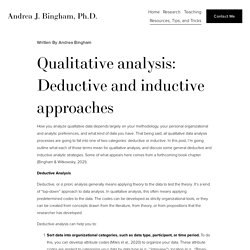 Qualitative analysis: Deductive and inductive approaches — Andrea J. Bingham, Ph.D.