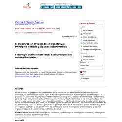 Ciência & Saúde Coletiva - Sampling in qualitative research: basic principles and some controversies