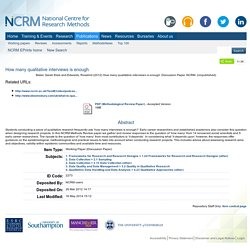 How many qualitative interviews is enough - NCRM EPrints Repository