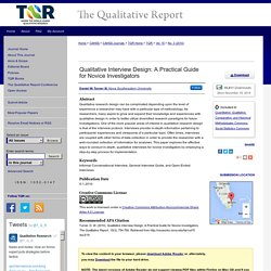 """Qualitative Interview Design: A Practical Guide for Novice Investigato"" by Daniel W. Turner III"