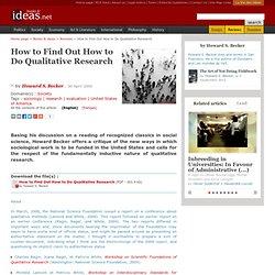 How to Find Out How to Do Qualitative Research - La vie des idées